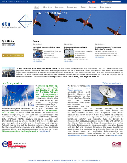 Homepage erstellen homepageerstellung der etn webseite for Grafik design praktikum wien