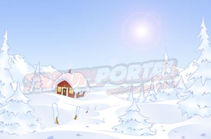 Wallpaper Schnee Blockhütte Skihütte im Winter